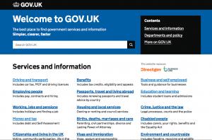 英国政府ウェブサイトのトップページ